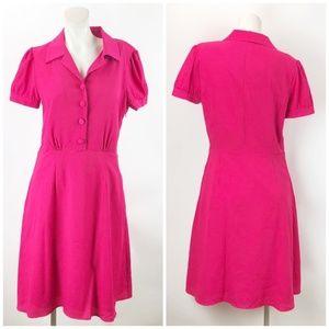 Alex Marie Hot Pink A-line Quarter Button Dress